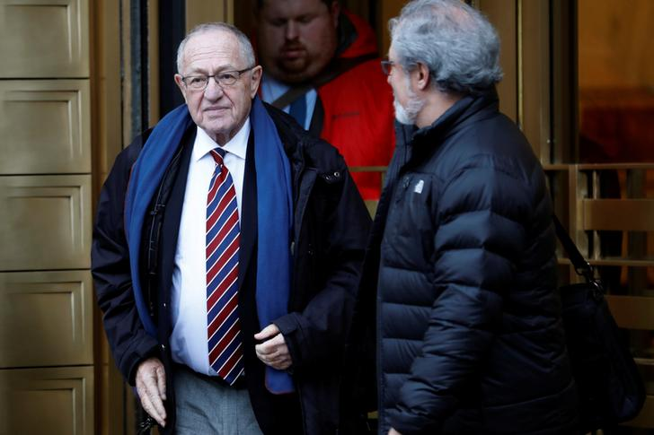 Alan Dershowitz leaves the Manhattan Federal Court in New York, following a status conference in the defamation lawsuit brought by Virginia Giuffre against Dershowitz over discovery issues in Manhattan, New York, U.S., December 2, 2019. REUTERS/Mike Segar