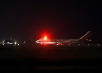 A cargo aircraft chartered by the U.S. government to evacuate American passengers from the cruise ship Diamond Princess, where dozens of passengers were tested positive for coronavirus in Japan, arrives at Travis Air Force Base in Fairfield, California, U.S. February 16, 2020. Picture taken February 16, 2020. REUTERS/Stephen Lam